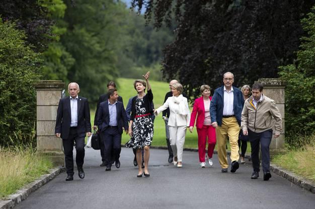 Der Gesamtbundesrat besucht das Textilmuseum der Abegg-Stiftung in Riggisberg.
