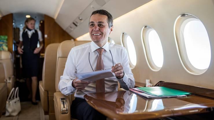 Bundesrat Ignazio Cassis auf der Heimreise   im Bundesratsjet «Jede Chance, die sich im Leben ergibt, ist eine Entdeckungsreise.»
