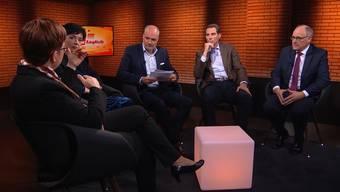 TV-Auftritt: Die Aargauer Ständeratskandidaten vor dem zweiten Wahlgang am 24. November im TalkTäglich.