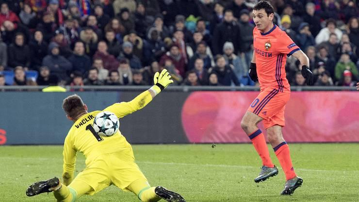 Der Ausgleich von Dsagojew war der Anfang der Wende. Am Ende gewinnt Moskau in Basel mit 2:1.