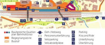 Das will Liestal im Rahmen des Vierspurausbaus auf eigene Rechnung bauen: Das Veloparking nördlich und den Geh- und Veloweg südlich der Gleise.