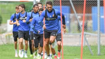 Auch beim Konditionstraining ein Anführer: FCB-Captain Matias Delgado.