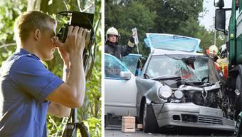 Die Kantonspolizei macht pro Tag rund eine Radar- und Laserkontrolle - Unfall wegen mutmasslich überhöhter Geschwindigkeit.