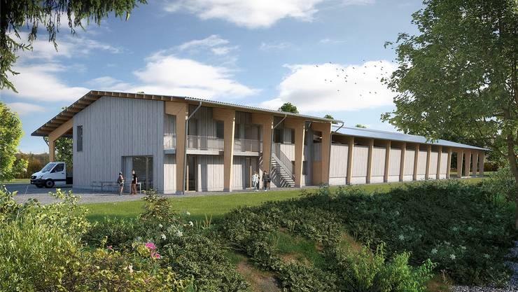 Die Visualisierung zeigt das geplante Gärtner-Ausbildungszentrum auf dem Areal des Berufsbildungsheims Neuhof in Birr.