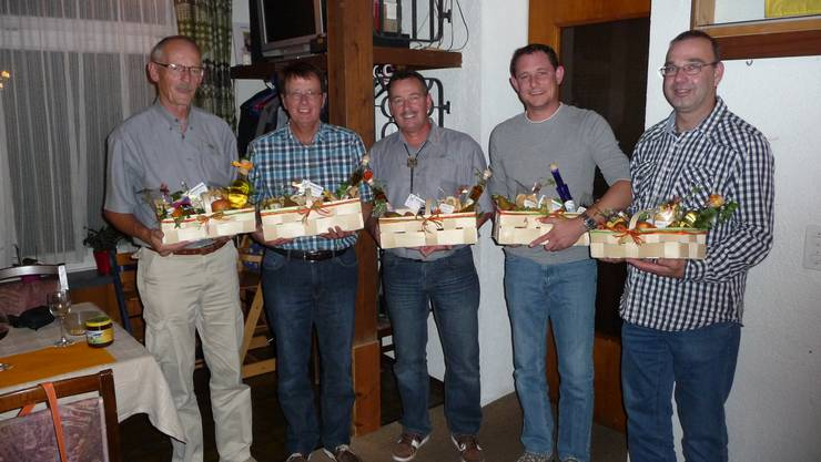 Die fünf Erstplatzierten von links Franz Merkofer, Willi Stäuble, Toni Weiss, Patric Ehresheim und Hanspeter Schraner