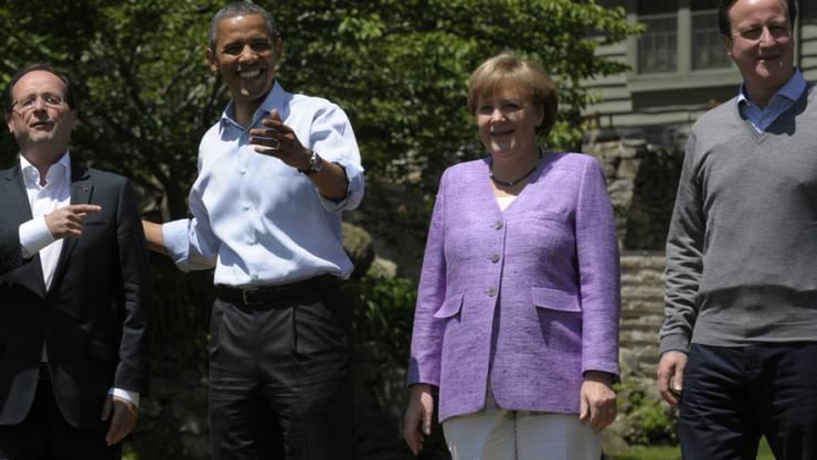 Die Präsidenten Barack Obama und François Hollande sowie Premier David Cameron und Kanzlerin Angela Merkel sprachen am Dienstagabend an einer Videokonferenz über die Lage im Bürgerkriegsland Syrien. (Archivbild)