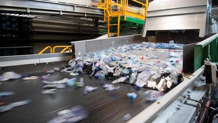 Es läuft in Europas modernster PET-Recycling-Anlage in Bilten GL: PET-Flaschen sausten schon am gestrigen Eröffnungstag durch eine Sortiermaschine.