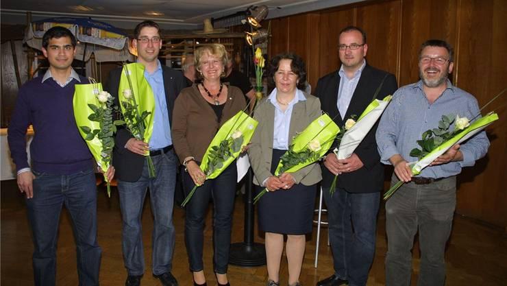 Sechs Nominierte, v.l.: Yatin Shah, Stefan Huwyler, Sandra Ilg, Andrea Moll, Herbert Karli und Jörg Weiss.