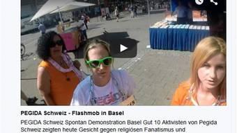 Ein Screenshot des mittlerweile gelöschten YouTube-Videos, das die Pegida Schweiz von ihrer Aktion aufnahm.