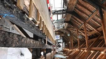 Sanierung Alte Brücke Holzbrücke Olten - Demontage Fussgängersteg