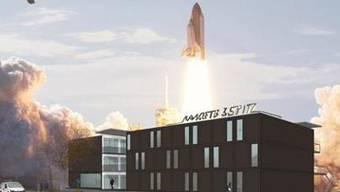 Die Rakete auf dem Dreispitz hebt ab.