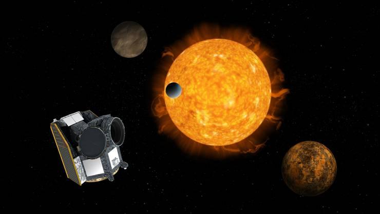 Mit noch besseren Teleskopen wie dem des Cheops-Satelliten soll nach Leben geforscht werden. Bild: ESA