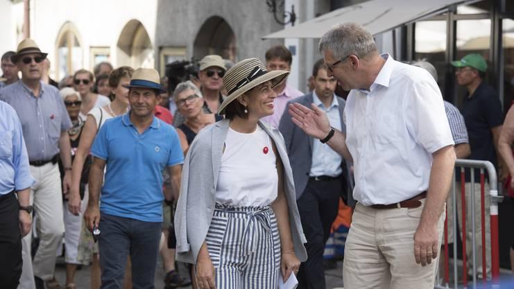 Im Bild: Bundespräsidentin Doris Leuthard mit Stadtammann Daniel Mosimann.