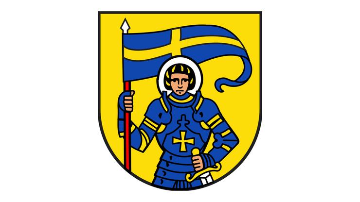 Der heilige Mauritius auf dem Wappen von St. Moritz.