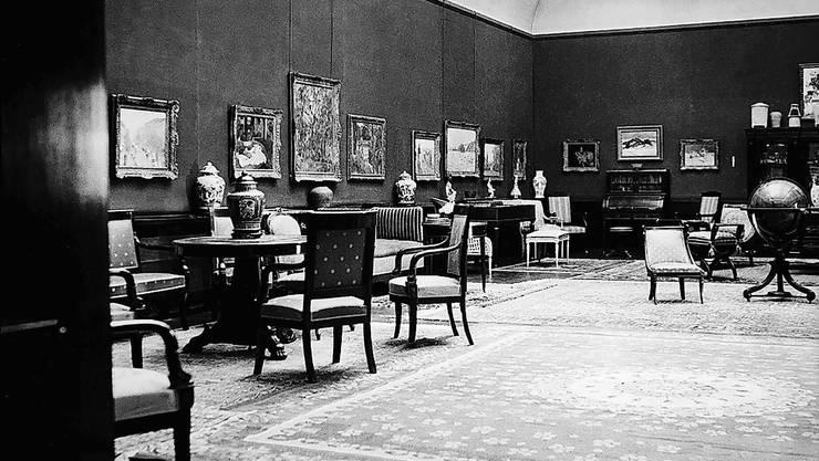 Jetzt wieder wie auf diesem Foto von 1934: Villa Langmatt mit Globus, Mobiliar und der Gemäldegalerie als Herzstück.