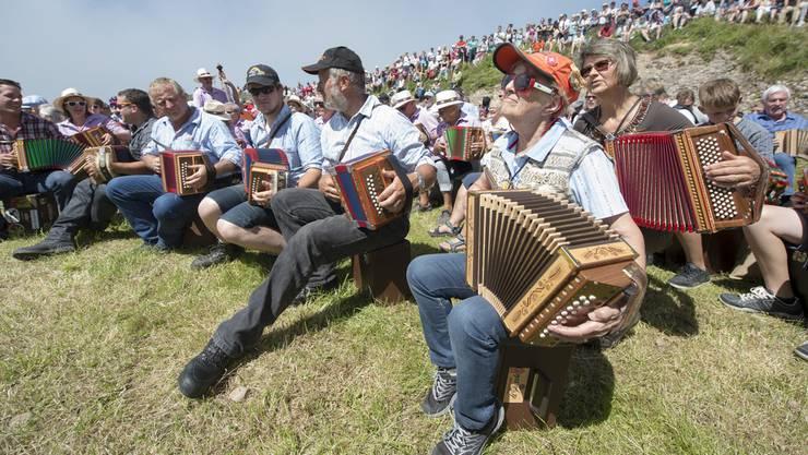 Schwyzerörgeli-Spieler auf der Rigi. Weitere in der Volksmusik häufig verwendete Instrumente sind...