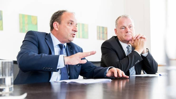 Markus Dieth (links) und Stephan Attiger leiten das Departement Gesundheit und Soziales ad interim.