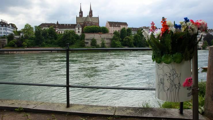 Zwischen dem Solitude-Park und der Dreirosenbrücke wurden die Abfallkübel für einen Monat eingekleidet.