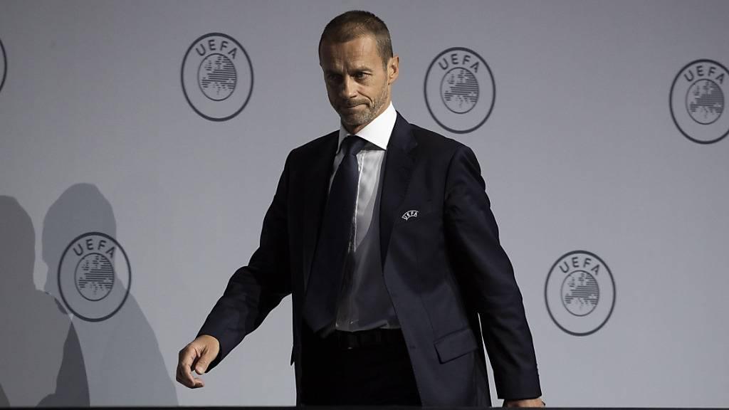 UEFA-Präsident Aleksander Ceferin informiert über den Zeitplan der europäischen Fussballligen
