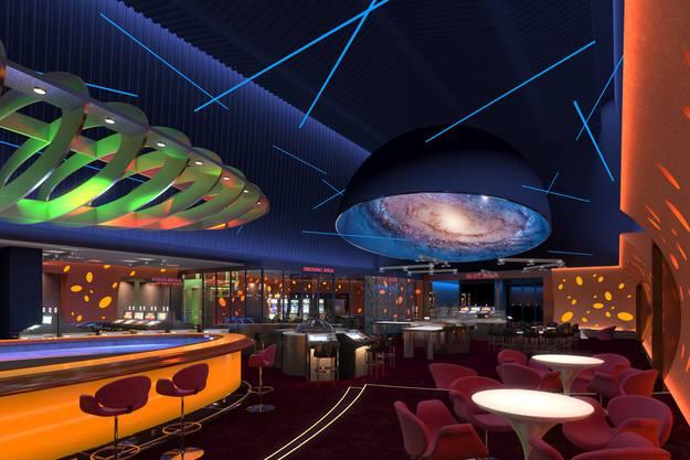 Der neue Spielsaal mit grüner Bar.