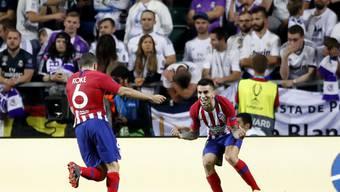 Siegesjubel bei Atlético: Torschütze Koke (links) mit Angel Correa