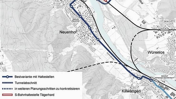 Im Bereich Wettingen-Ost sind drei Linienführungsvarianten als Zwischenergebnis in den Richtplan eingetragen worden.