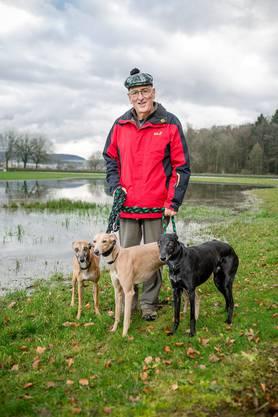 Hansueli Egger, Präsident des Windhundrennvereins Kleindöttingen, auf der Rennanlage mit seinen Windhunden.
