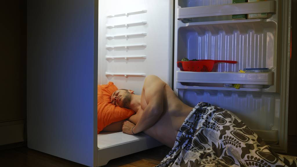 Sicher unbequem und nicht gerade umweltbewusst aber eine mögliche Lösung: Schlafen vor dem Kühlschrank.