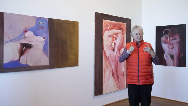 Miriam Cahn in ihrer Berner Ausstellung.