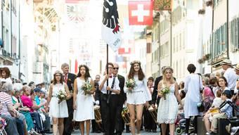 Der Maienzug 2019 in Aarau mit dem Umzug durch die Stadt, der Feier im Telliring und dem Bankett in der Schanz. Aufgenommen am 5. Juli 2019 in Aarau.