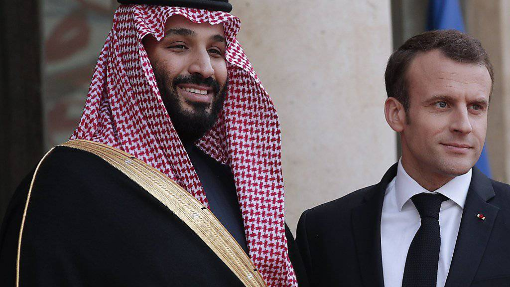 Der saudiarabische Kronprinz Mohammed bin Salman (links) mit Frankreichs Präsident Emmanuel Macron.