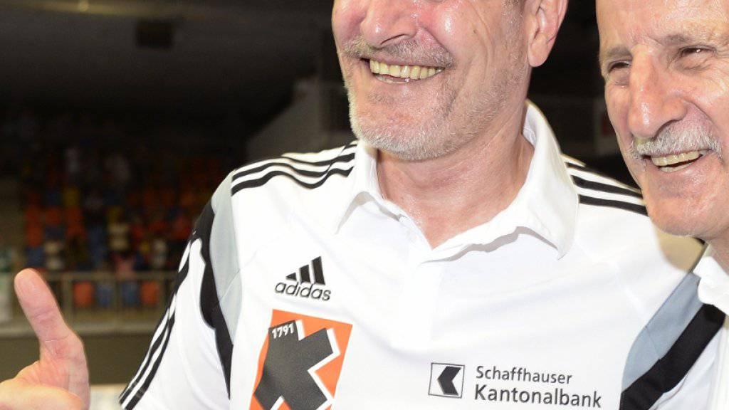 Derzeit nicht Daumen hoch! Trainer Lars Walther (links) und Präsident Giorgio Behr (Archivaufnahme)