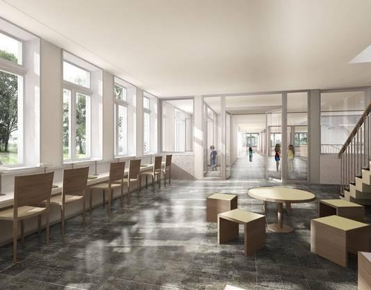 Perspektive Bibliothek: Visualisierung nach dem Umbau im bestehenden Schulhaus