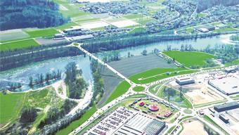 Die neue Brücke Koblenz Ost soll vom deutschen Lonza-Areal in Richtung Schweiz führen. Visualisierung: ZVG