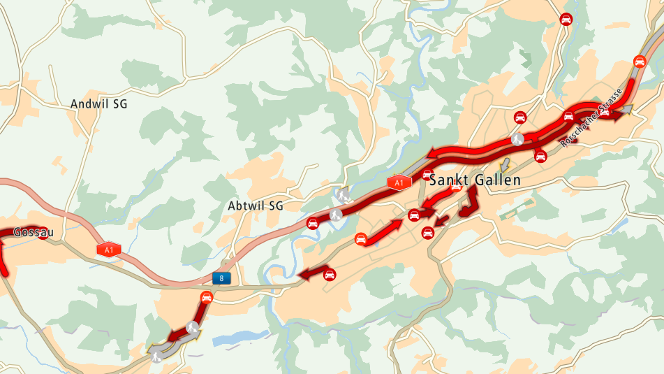 Auf der Stadtautobahn kommt es wegen eines Unfalls zu Stau.