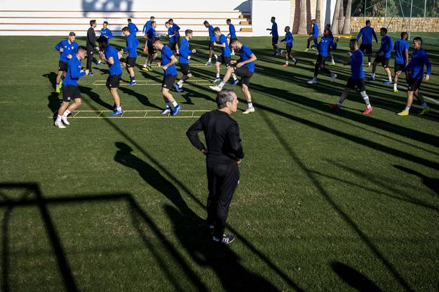 Cheftrainer Marcel Koller beobachtet alles ganz genau.
