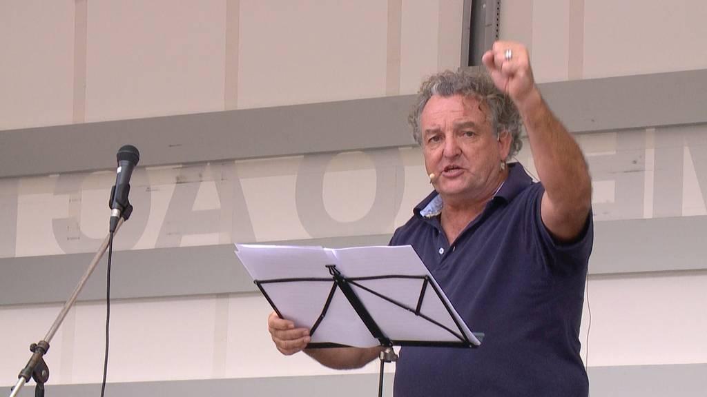 Marco Rima und Andreas Thiel an der Anti-Corona-Demo in Zürich