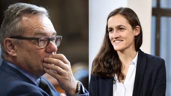 Ruedi Noser, eingemitteter FDP-Ständerat und Marionna Schlatter, Grüne Kandidatin mit Linksdrall und liberalen Gesellschaftsvorstellungen.