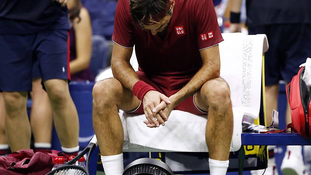 Roger Federer litt während der Partie gegen John Millman ganz besonders unter der schwülen Hitze