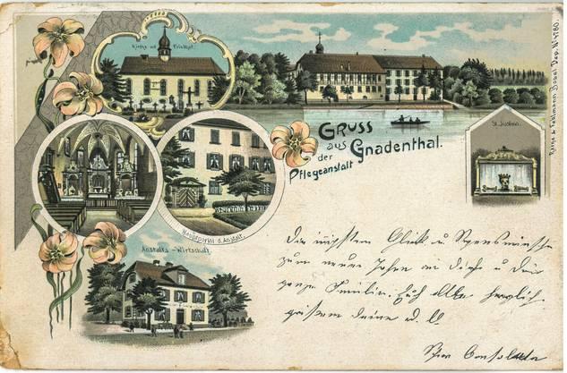 Dieser Kartengruss aus Gnadenthal ging 1901 an Jakob Bischof im Kanton St. Gallen, Die genaue Adresse lässt sich leider nicht entziffern.