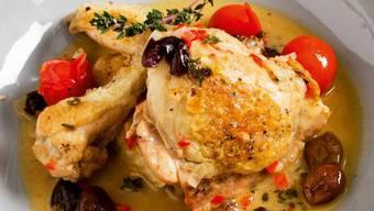 Geschmortes Huhn mit mediterraner Note – wo wirds gemacht.