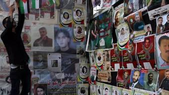 Ein Zelt in Nablus mit Fotos der inhaftierten Palästinenser