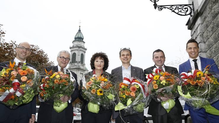 Der bisherige Solothurner Nationalrat: Stefan Müller-Altermatt, Kurt Fluri, Bea Heim, Philipp Hadorn, Walter Wobmann und Christian Imark.
