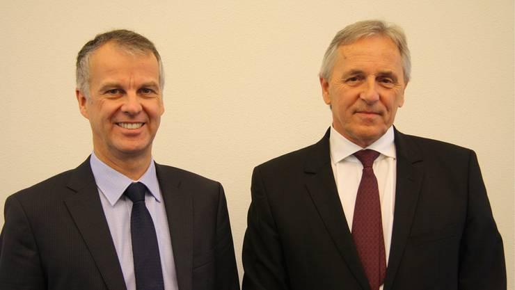CEO Markus Boss und Verwaltungsratspräsident Felix Leuenberger sehen die Regiobank Solothurn auch im Jubiläumsjahr trotz Währungsturbulenzen auf Kurs.