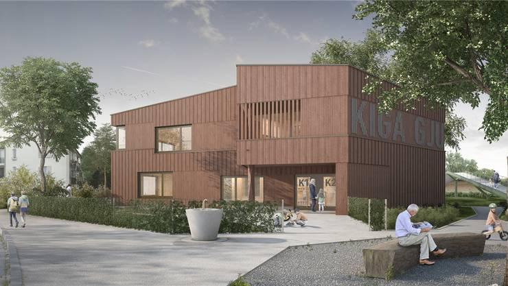 So soll dereinst das neue Kindergarten-Gebäude an der Gjuchstrasse aussehen.