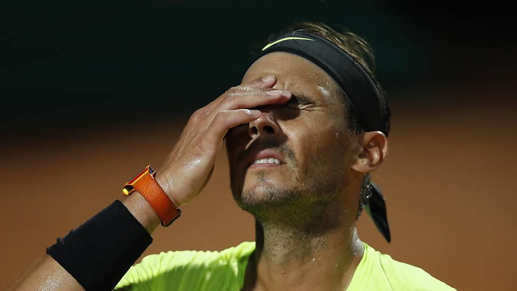 Kein guter Abend: Rafael Nadal scheiterte am späten Samstagabend in Rom im Viertelfinal.