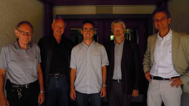 Die Organisatoren des überkonfessionellen Bettagsgottesdienstes: Simon Kuert, Roland Knobel, Stefan Thalmann, Robert Zemp und René Hefti (v. l.).  tg