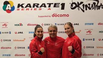 Ramona Brüderlin mit Natioalcoach Franco Pisino und der Teamkollegin Elena Quirici.