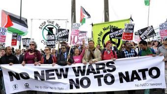 Demonstration gegen den NATO-Gipfel in Newport
