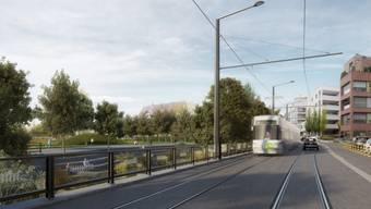 Nächster Halt Kloten: Die nächste Etappe der Glattalbahn ist einen Schritt weiter. Die Visualisierung zeigt, wie die Strecke in Kloten aussehen wird.